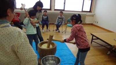 森のこだま館 葛巻児童クラブ 餅つき体験