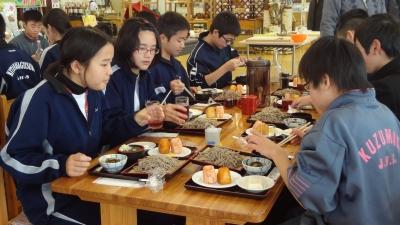 森のこだま館 北中城村・葛巻町中学生 そば打ち体験・豆腐作り体験